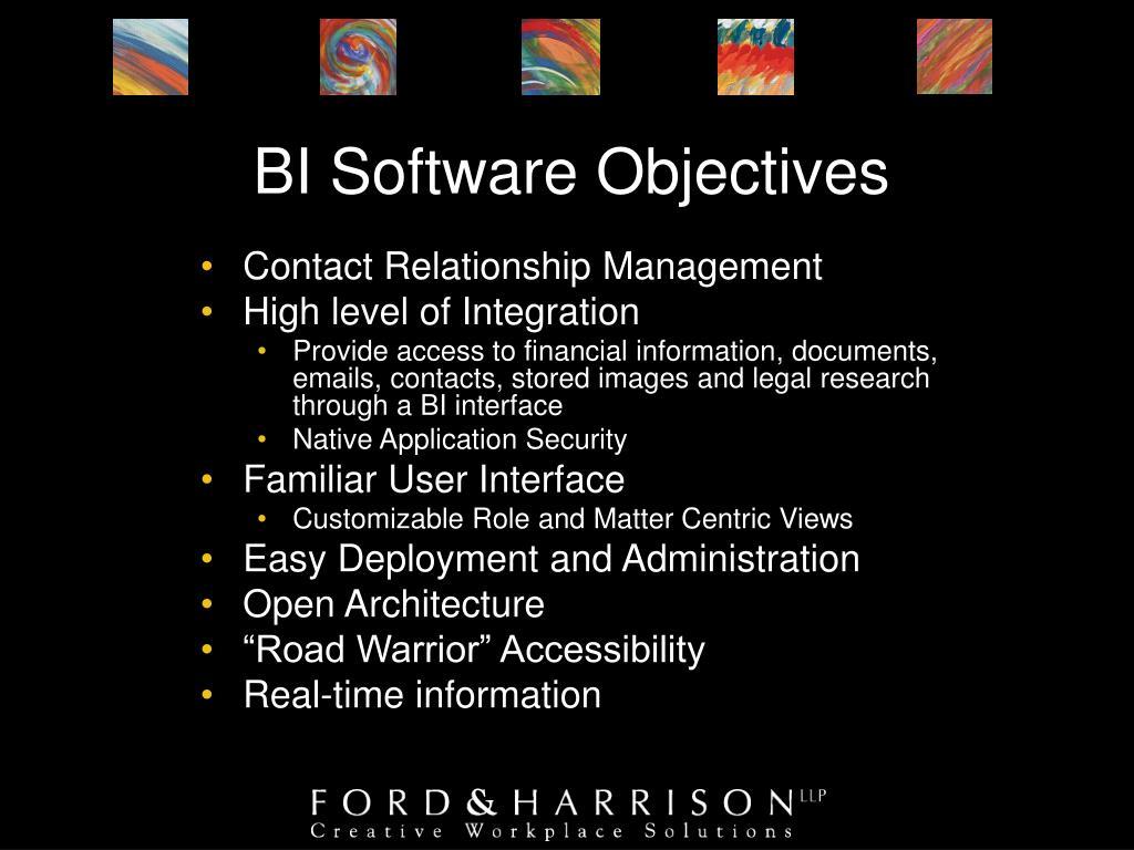 BI Software Objectives