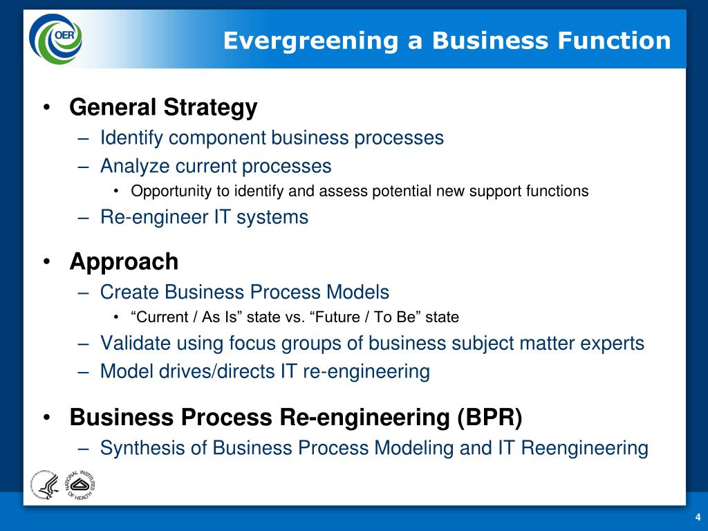 Evergreening a Business Function