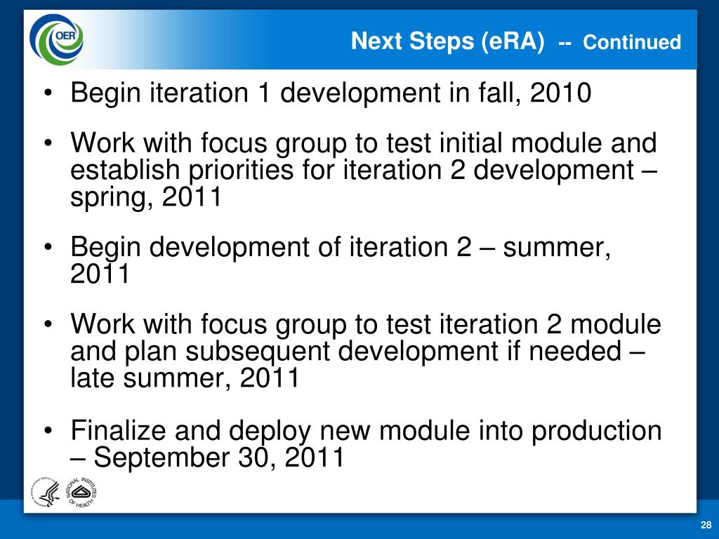 Next Steps (eRA)