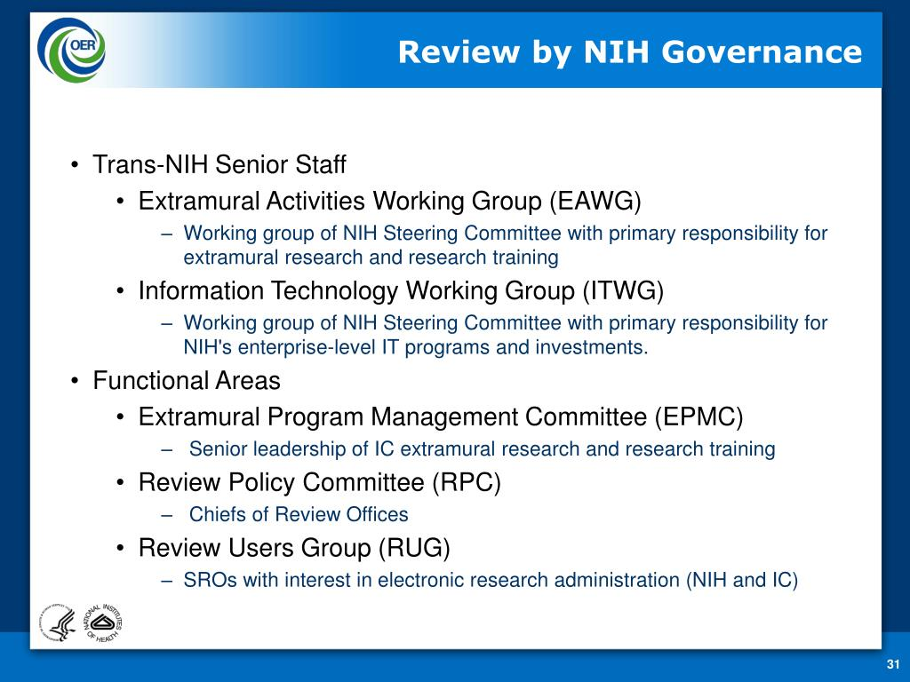 Review by NIH Governance