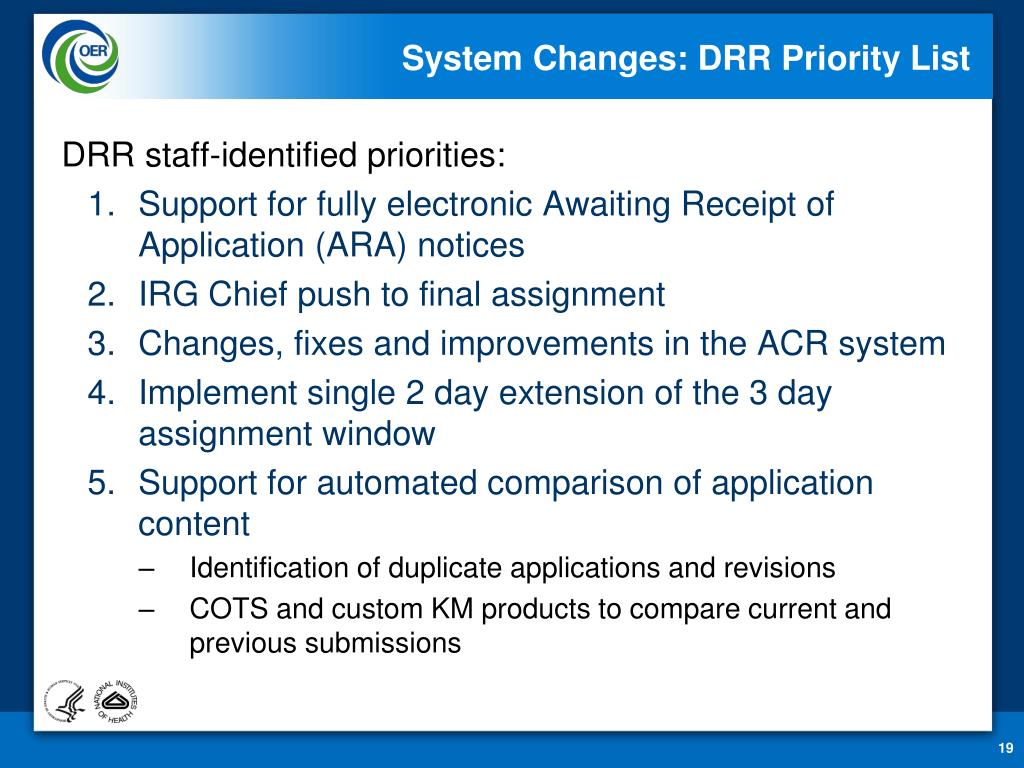 System Changes: DRR Priority List