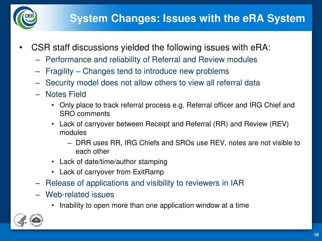 System Changes: Issues with the eRA System