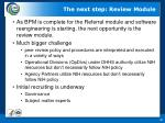 the next step review module