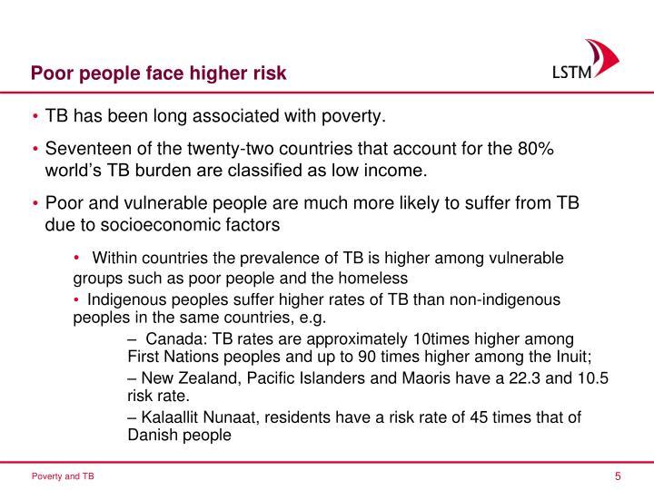 Poor people face higher risk
