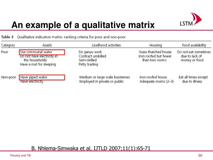 An example of a qualitative matrix