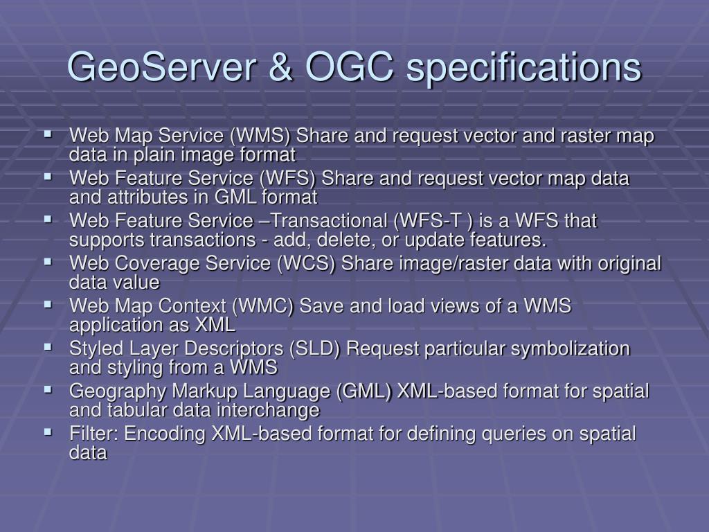 GeoServer & OGC specifications