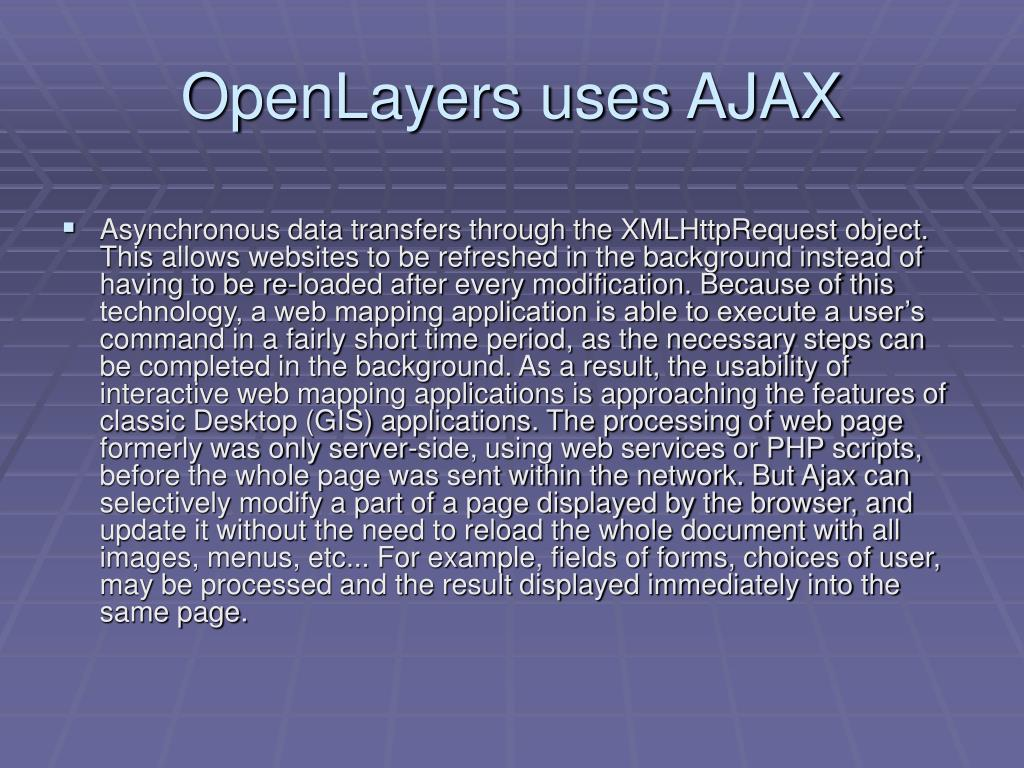 OpenLayers uses AJAX