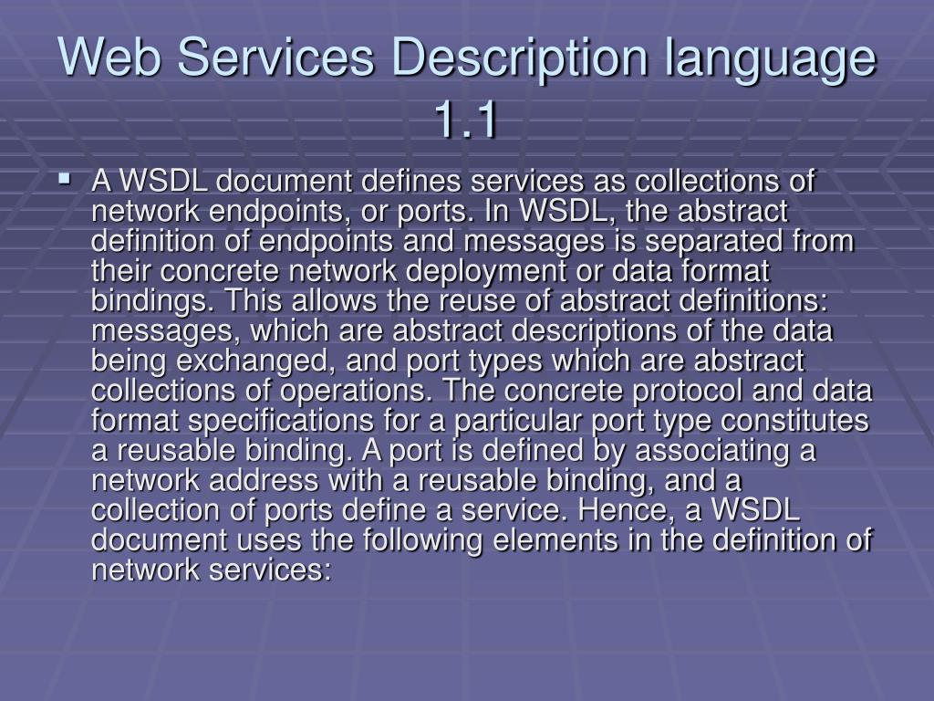 Web Services Description language 1.1