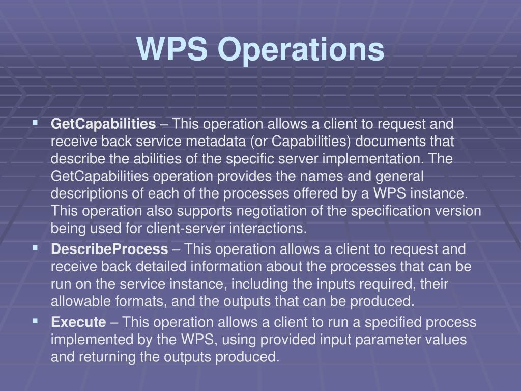 WPS Operations