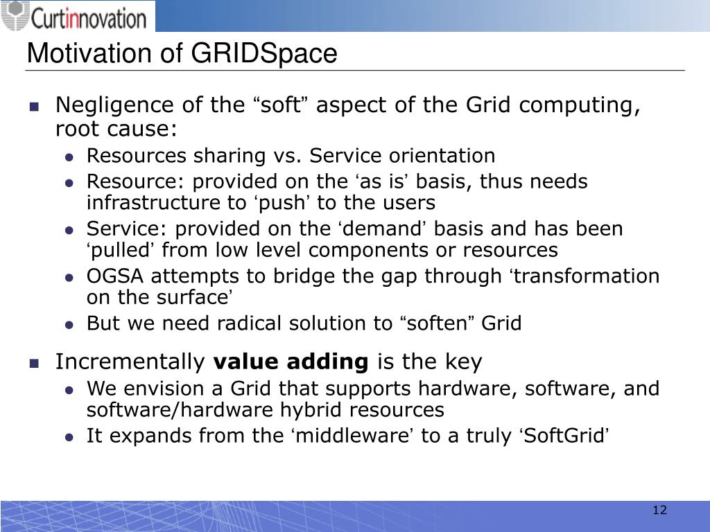 Motivation of GRIDSpace