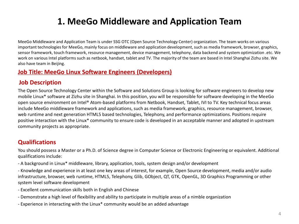 1. MeeGo Middleware and Application Team
