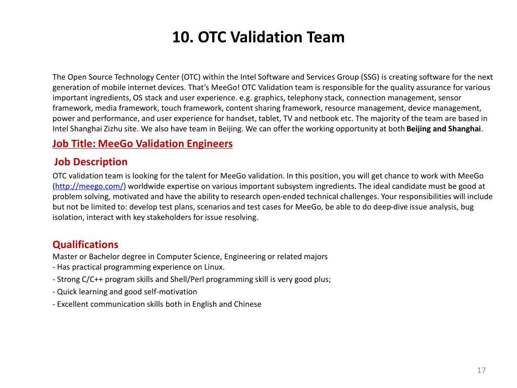 10. OTC Validation Team
