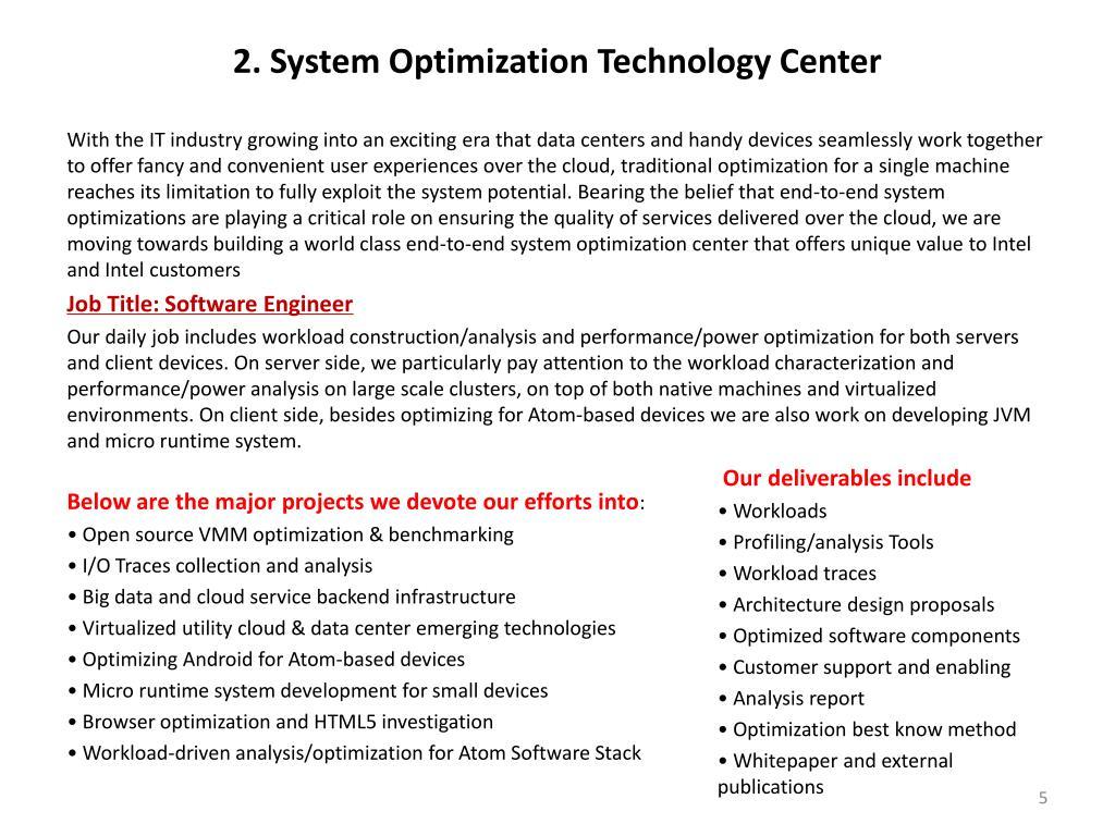 2. System Optimization Technology Center