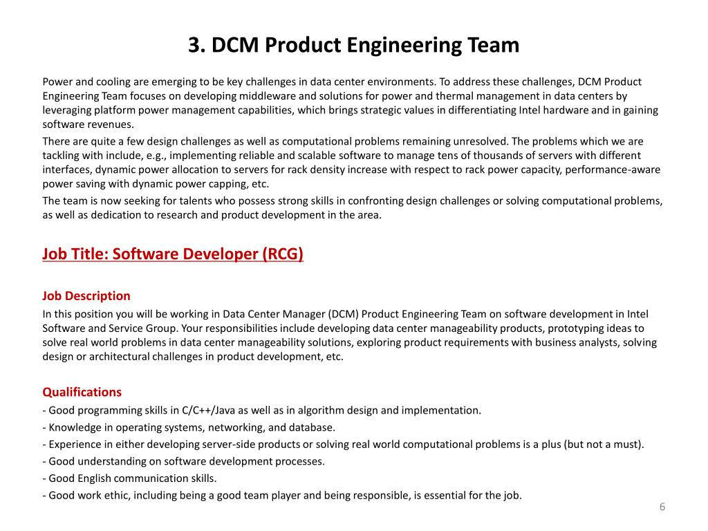 3. DCM Product Engineering Team