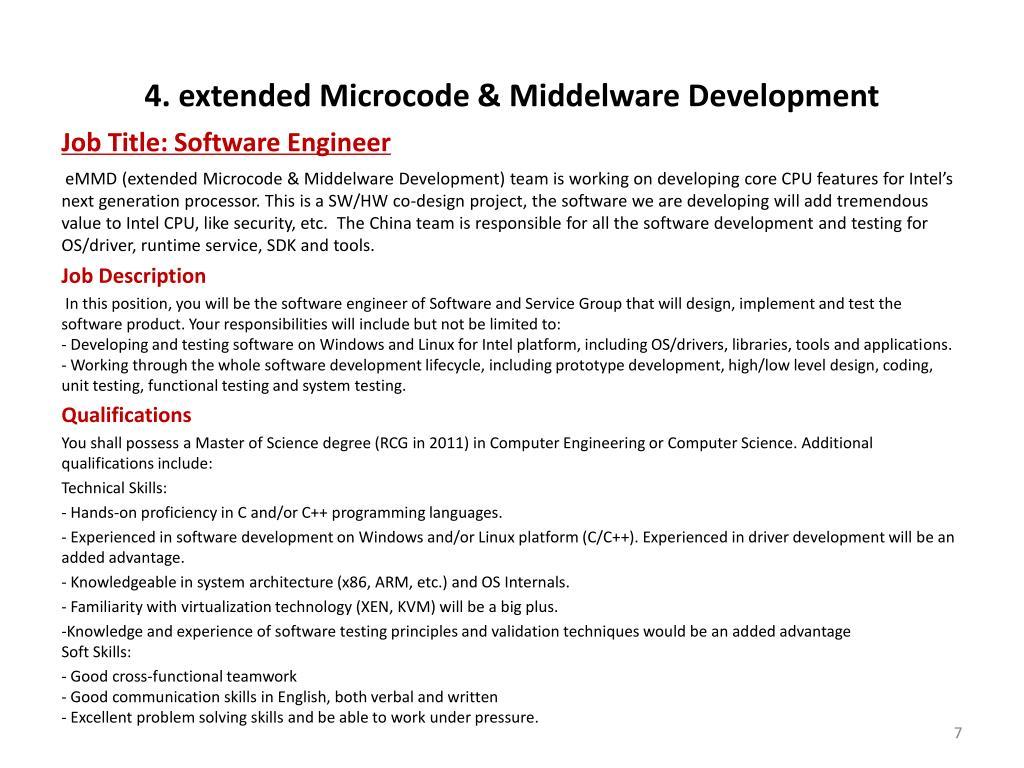 4. extended Microcode & Middelware Development