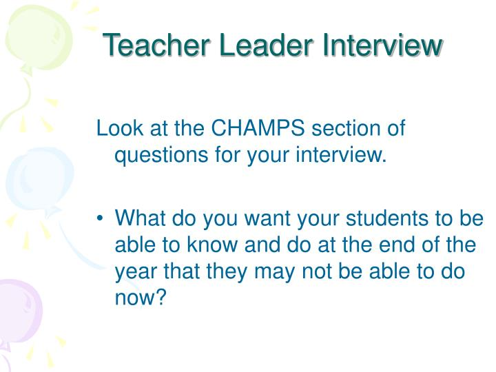 Teacher Leader Interview