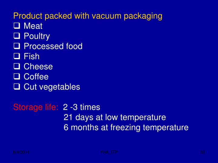 Product packed with vacuum packaging