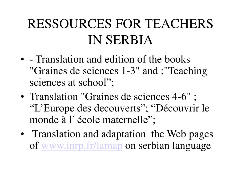 RESSOURCES FOR TEACHERS IN SERBIA
