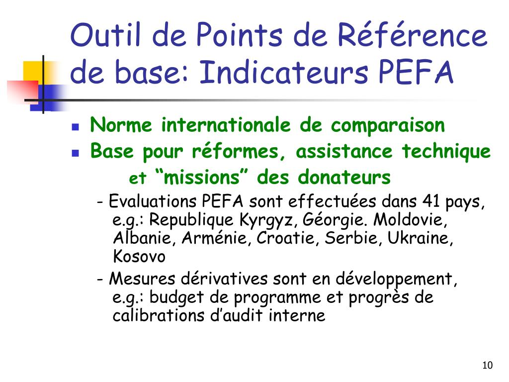 Outil de Points de Référence de base: Indicateurs PEFA