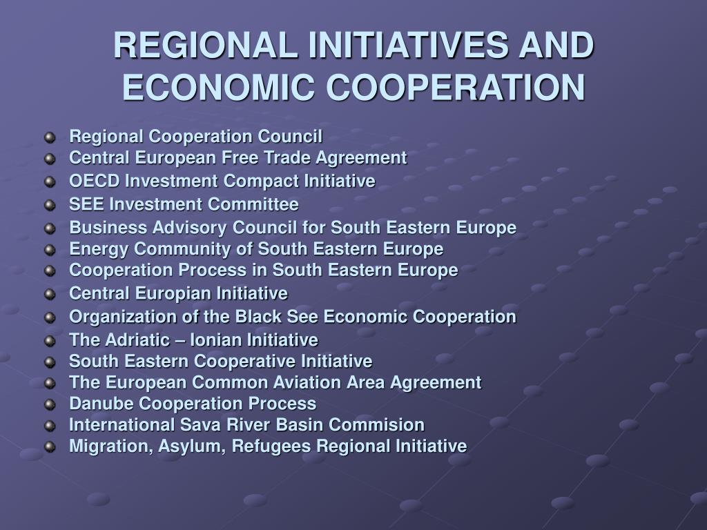 REGIONAL INITIATIVES AND ECONOMIC COOPERATION