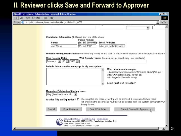 II. Reviewer clicks Save and Forward to Approver