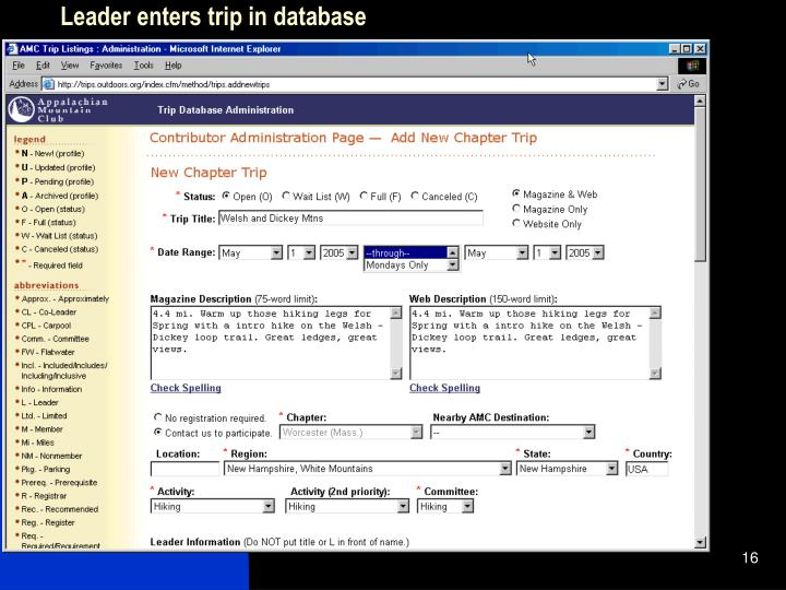 Leader enters trip in database