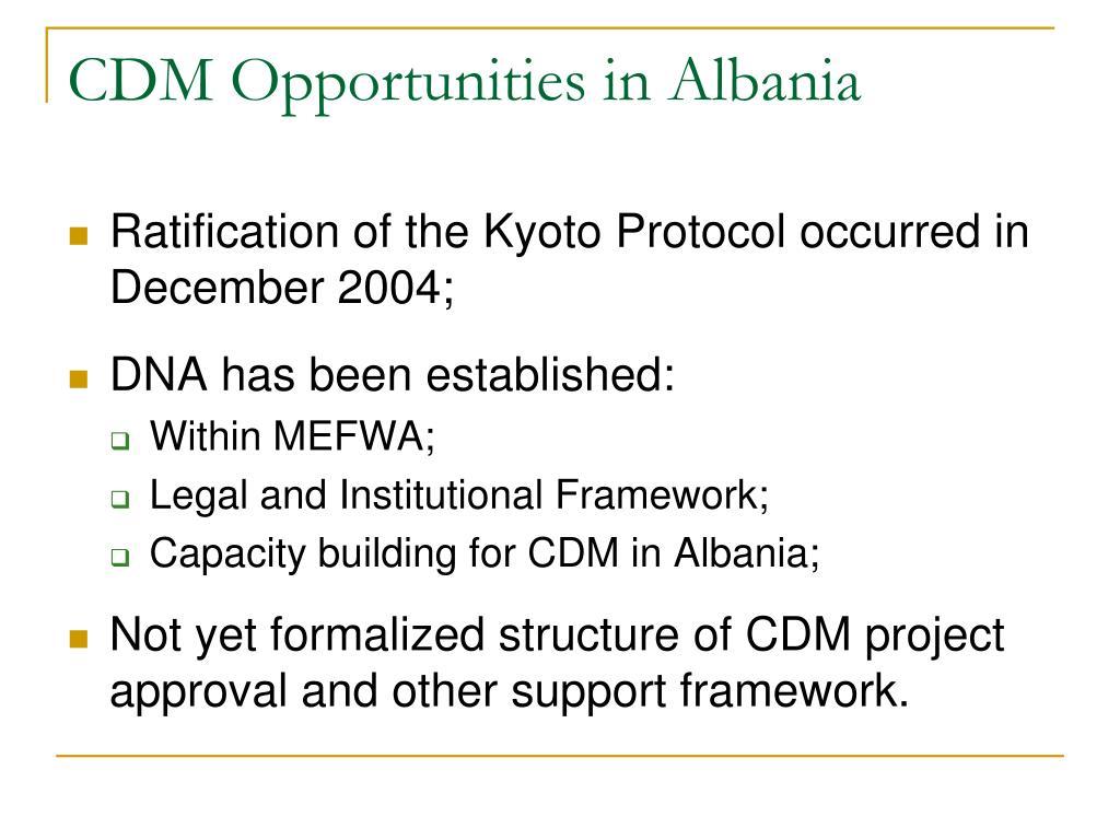 CDM Opportunities in Albania