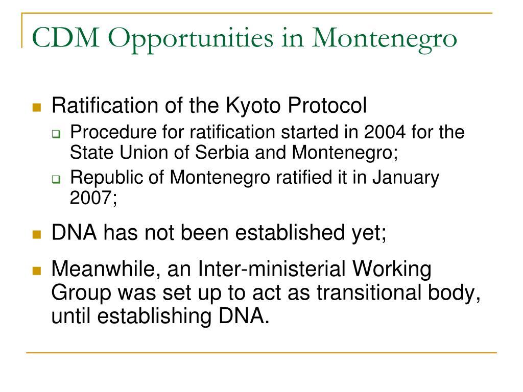 CDM Opportunities in Montenegro