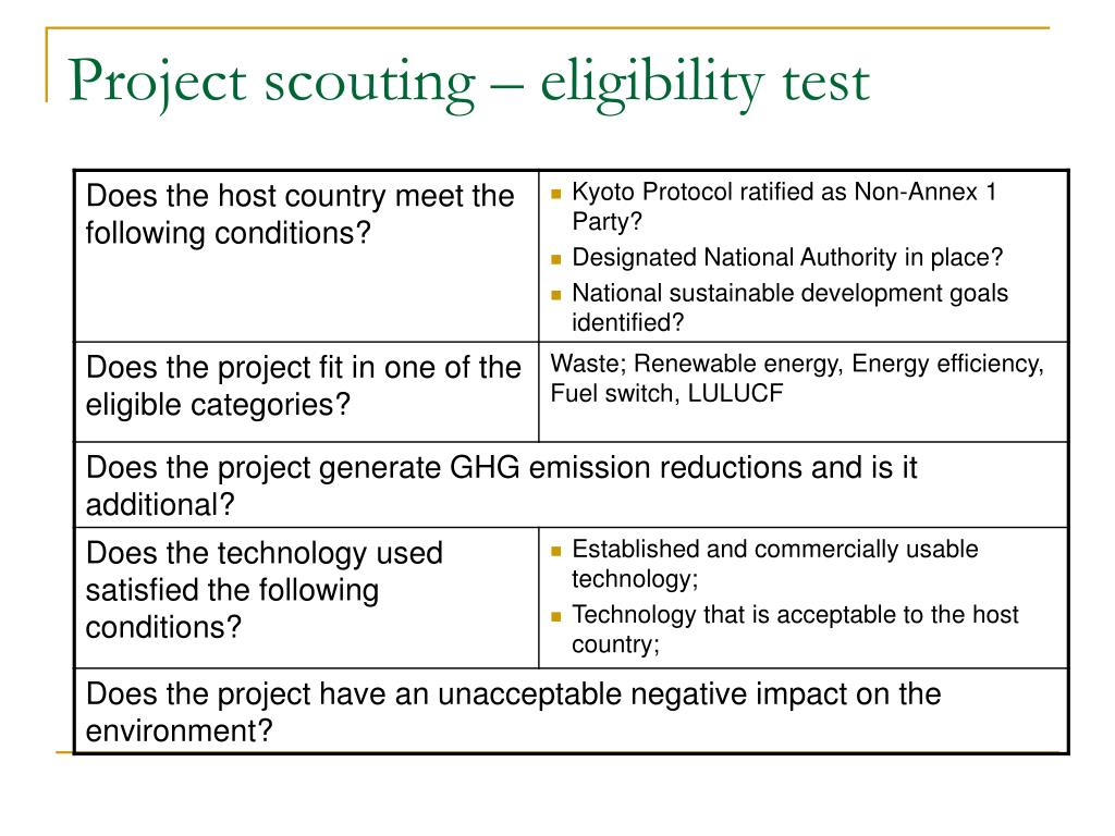 Project scouting – eligibility test
