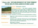 project title establishment of the forest wind belts for agriculture land