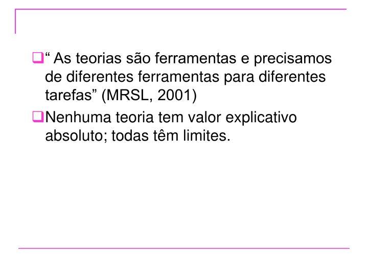 """"""" As teorias são ferramentas e precisamos de diferentes ferramentas para diferentes tarefas"""" (MRSL, 2001)"""