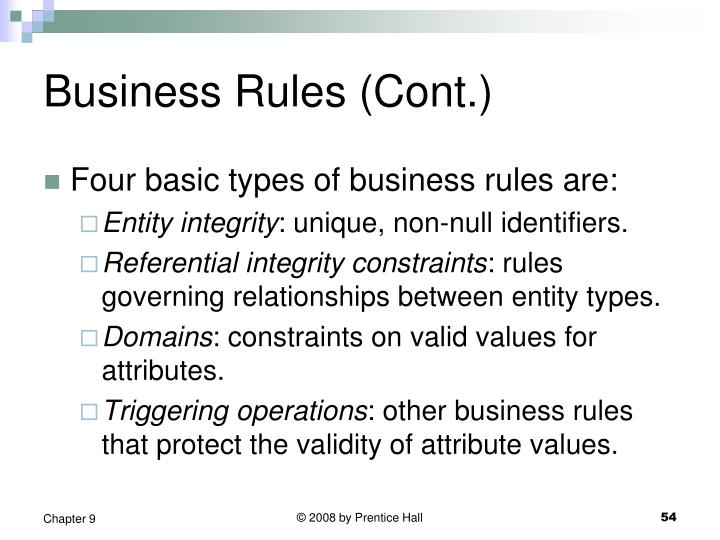 Business Rules (Cont.)