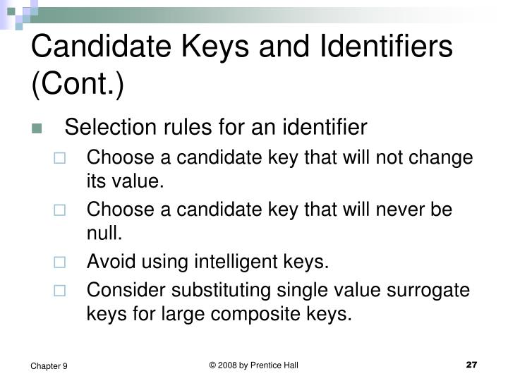 Candidate Keys and Identifiers (Cont.)
