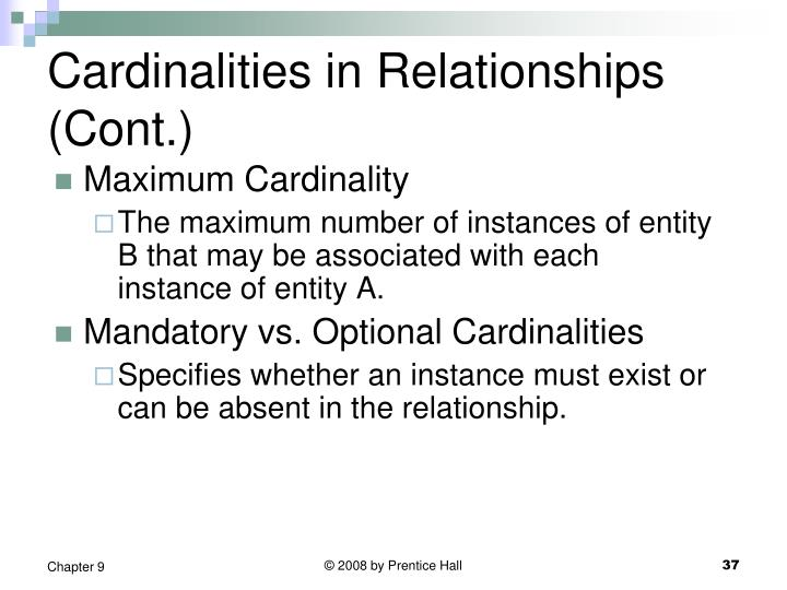 Cardinalities in Relationships (Cont.)