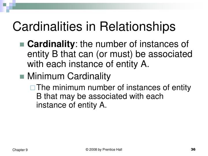 Cardinalities in Relationships