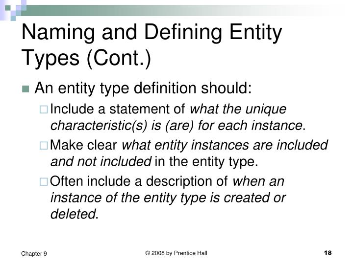 Naming and Defining Entity Types (Cont.)