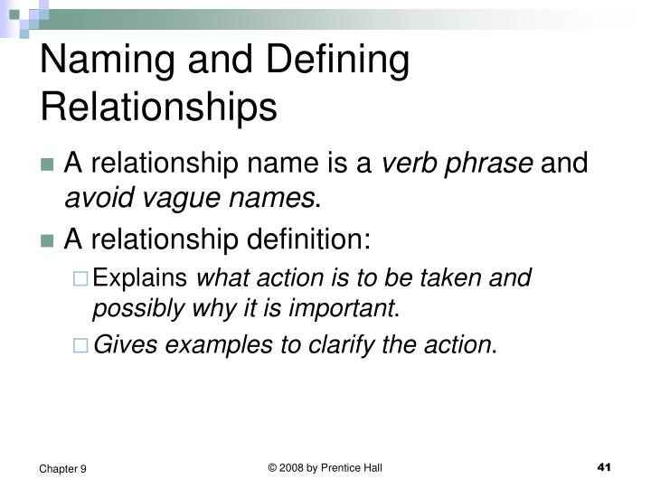 Naming and Defining Relationships