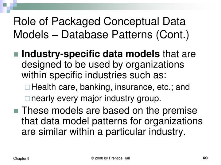 Role of Packaged Conceptual Data Models – Database Patterns (Cont.)