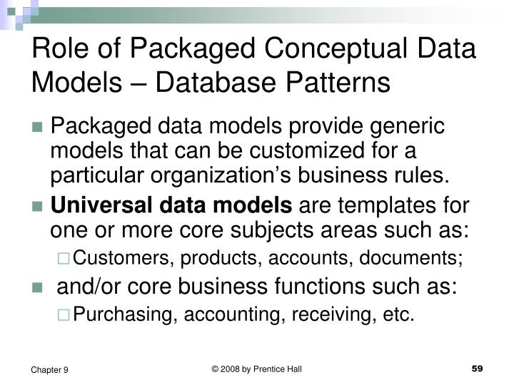 Role of Packaged Conceptual Data Models – Database Patterns