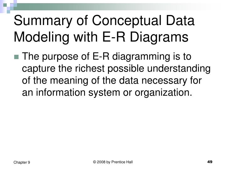 Summary of Conceptual Data Modeling with E-R Diagrams