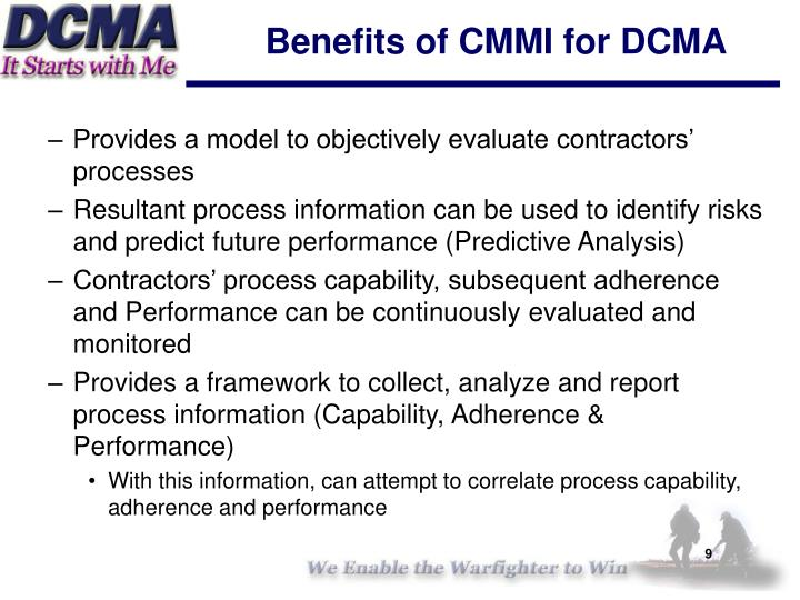 Benefits of CMMI for DCMA