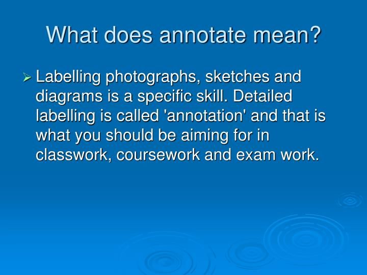 What does annotate mean