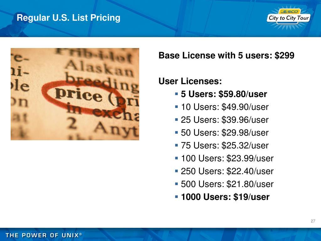 Regular U.S. List Pricing