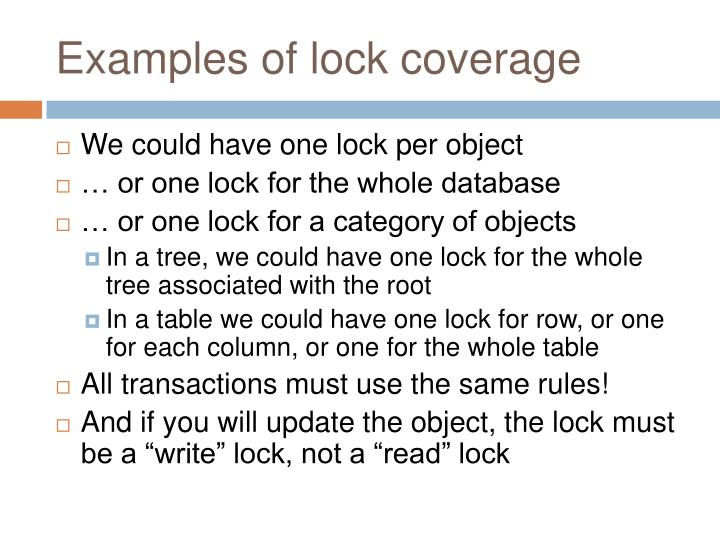 Examples of lock coverage