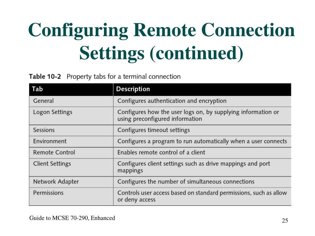 Configuring Remote Connection Settings (continued)