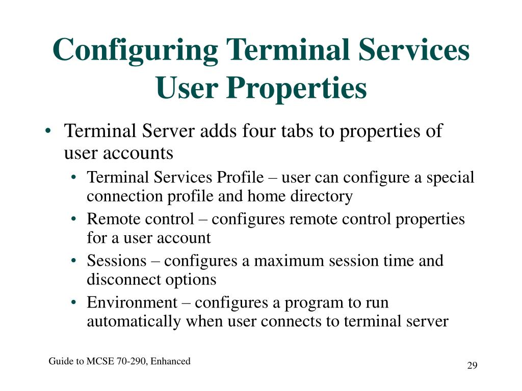 Configuring Terminal Services User Properties