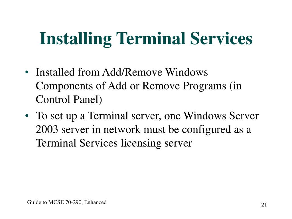 Installing Terminal Services