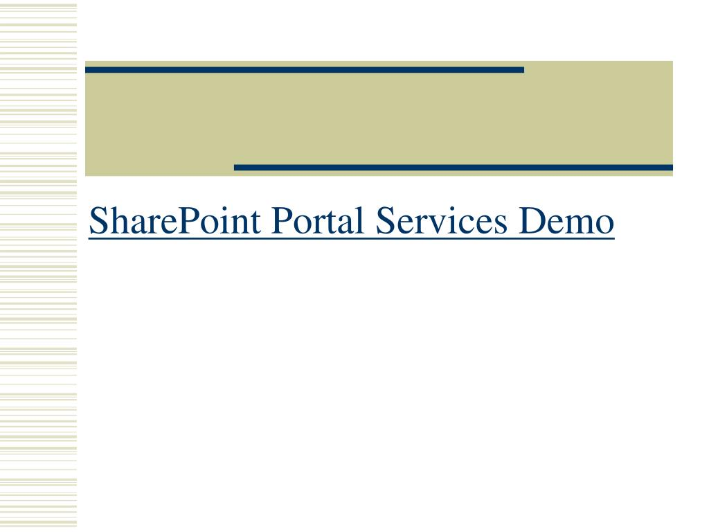 SharePoint Portal Services Demo