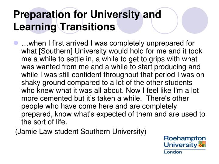 Preparation for University and Learning Transitions