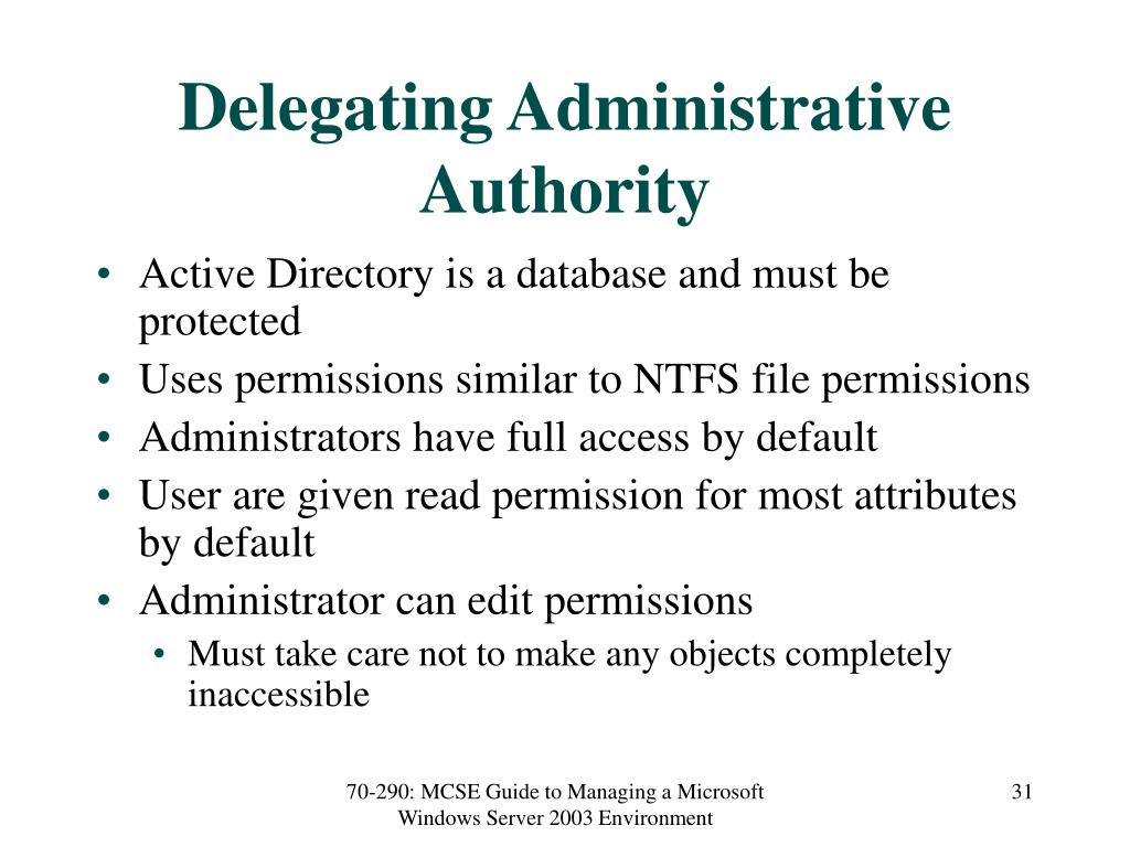Delegating Administrative Authority